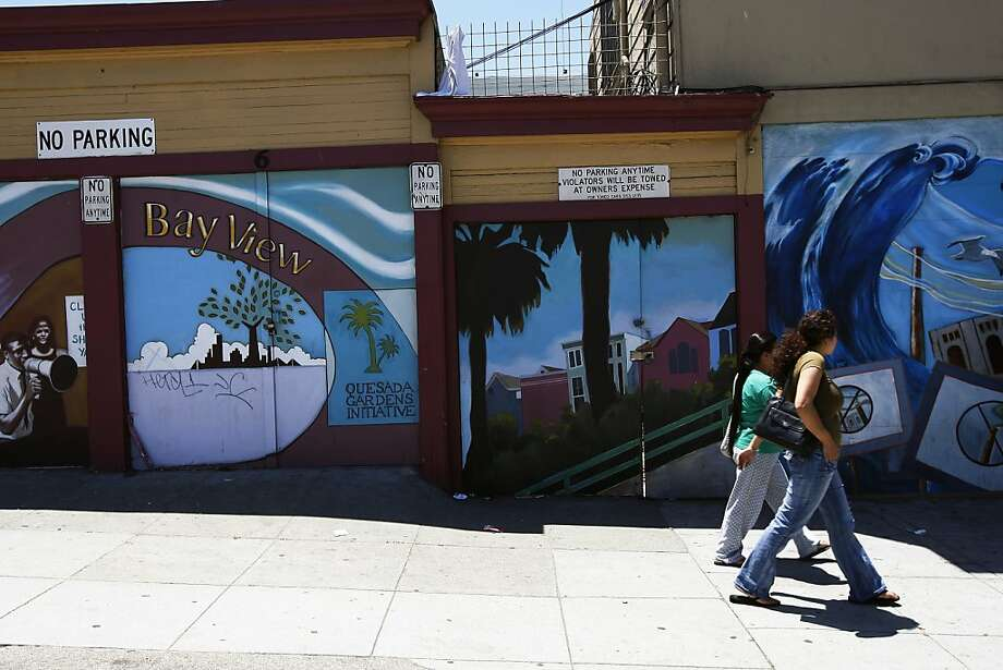 A mural on Palou Street will be one of the sites for the 3rd on Third arts celebration in the Bayview district. Photo: Rohan Smith, The Chronicle