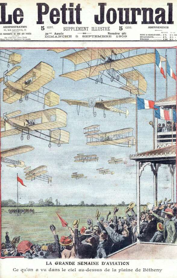 The front of newspaper Petit Journal on September 5, 1909, promoting an air show in Betheny, France. Photo: Apic, ©APIC / ©APIC