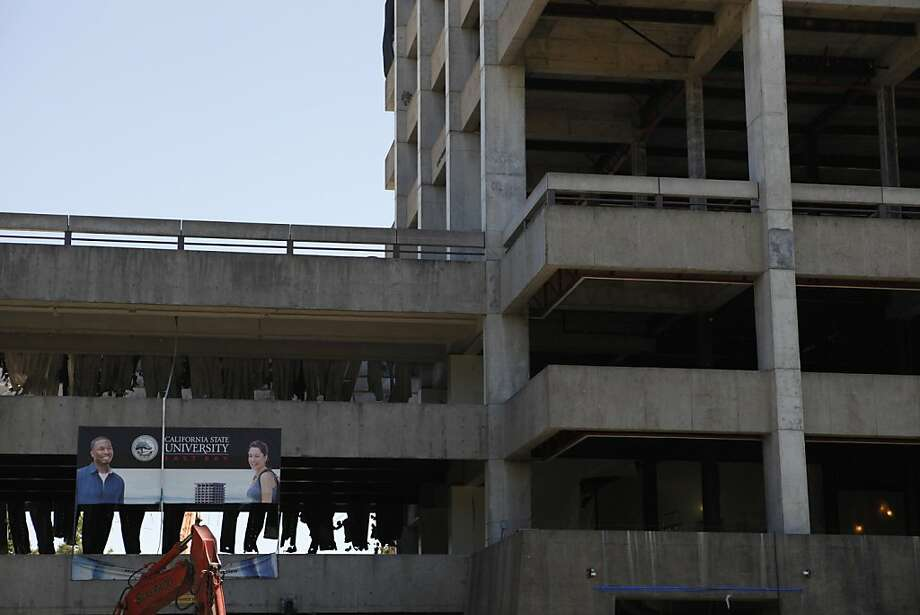 Scientists hope to get insights into the Hayward Fault in the demolition of 13-story Warren Hall. Photo: Katie Meek, The Chronicle