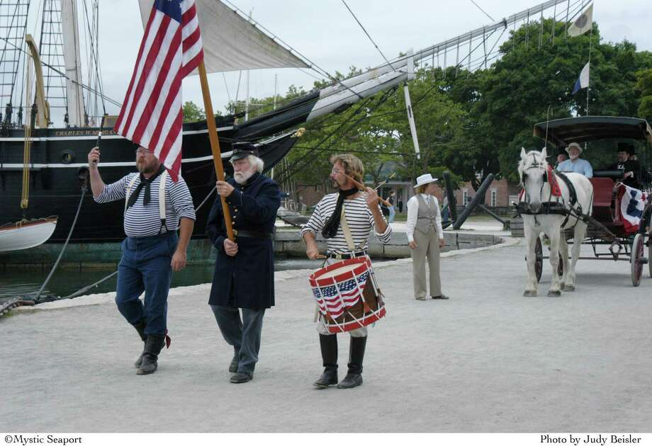 Mystic Seaport's Fourth of July parade, set in 1876, takes place at 1 p.m. on the holiday. Photo: Contributed Photo