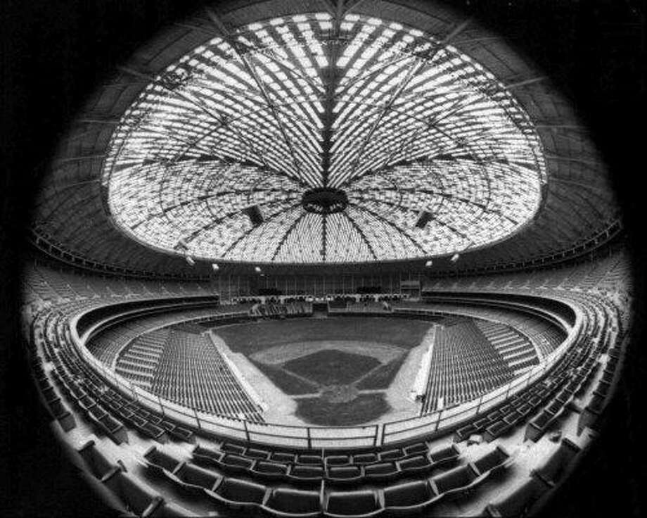 In an April 1965 file photo, the baseball field and seats at the Houston Astrodome are seen through a fish-eye lens in Houston.