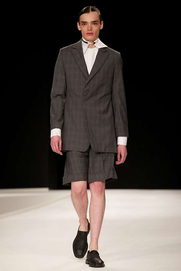 Little Lord Fauntleroy never goes out of style:Fancy pants by designer Xander Zhou make an appearance at the Spring/Summer 2014 London Collections in London. Photo: Andrew Cowie, AFP/Getty Images
