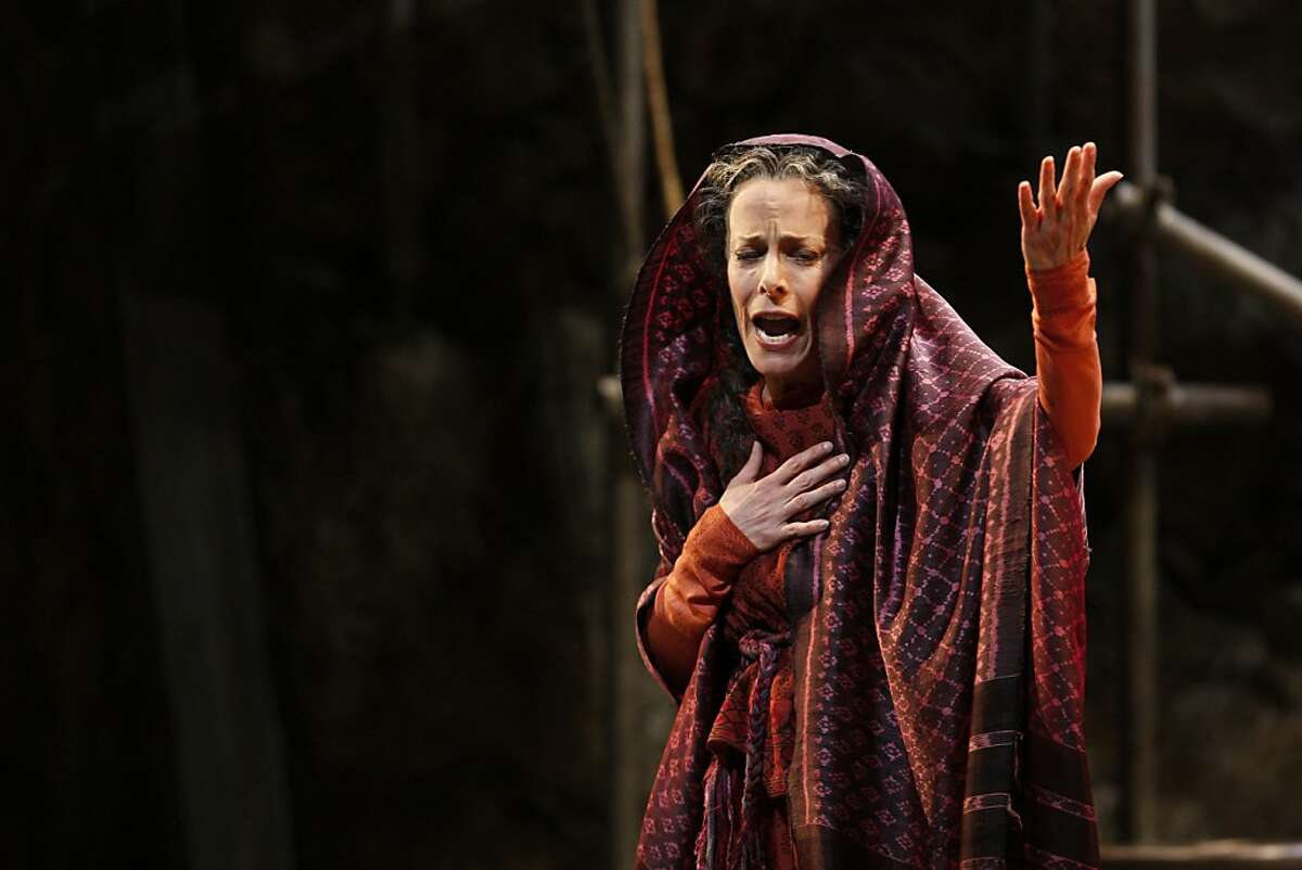 Maria Kanyova as Miriam (Yeshua's mother) telling Mary Magdalene to run away from her son in the world premiere of Mark Adamo's The Gospel of Mary Magdalene on Sunday, June 16, 2013 in San Francisco, Calif.