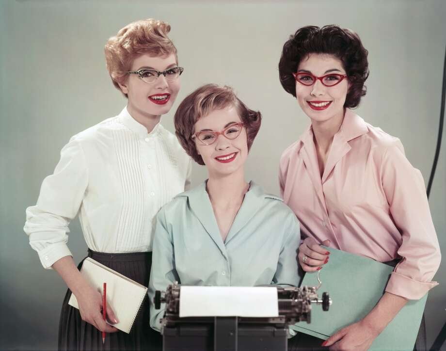 Three office workers in cat's eye spectacles, 1958.