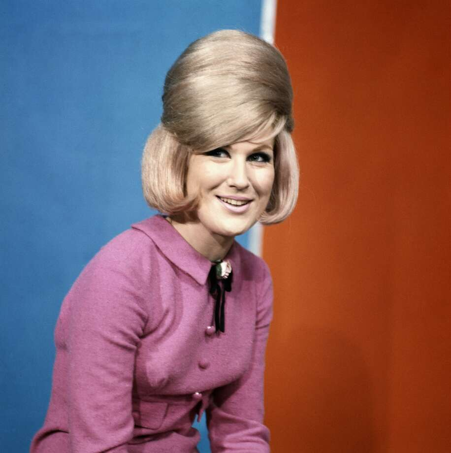 Dusty Springfield poses on the set of Thank Your Lucky Stars TV show in Aston Studios c 1966 in Birmingham, United Kingdom.