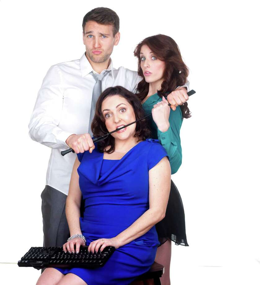 "Drew Moerlein, Michelle Vezilj and Amanda Barker, seated, will be in Stamford, Conn., Friday, June 28, 2013, to bring ""SPANK! The Fifty Shades Parody"" to the Palace Theatre. Inspired by the hugely successful ""Fifty Shades of Grey"" trilogy by E.L. James, the show is a racy romp, complete with audience participation. For more information, visit http://www.scalive.org. Photo: Contributed Photo / Stamford Advocate Contributed"