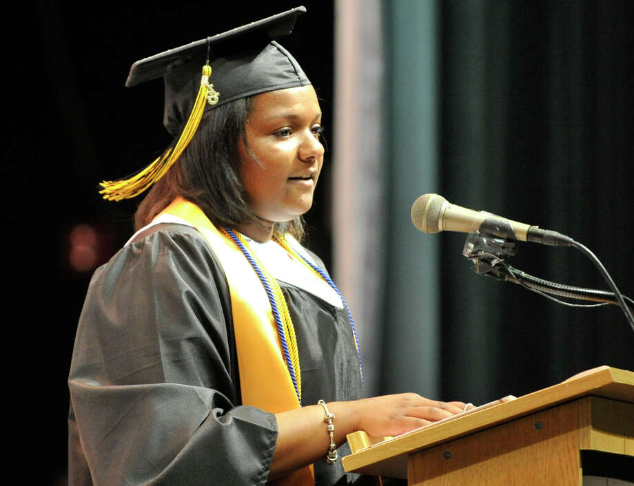 Class President Darol Cueba-Jones speaks during the Academy of Information Technology and Engineering commencement ceremony at Rippowam Middle School in Stamford on Wednesday, June 19, 2013. Photo: Jason Rearick / Stamford Advocate