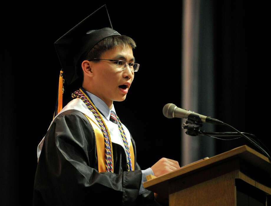 Cameron Yick speaks to his fellow graduates during the Academy of Information Technology and Engineering commencement ceremony at Rippowam Middle School in Stamford on Wednesday, June 19, 2013. Photo: Jason Rearick / Stamford Advocate