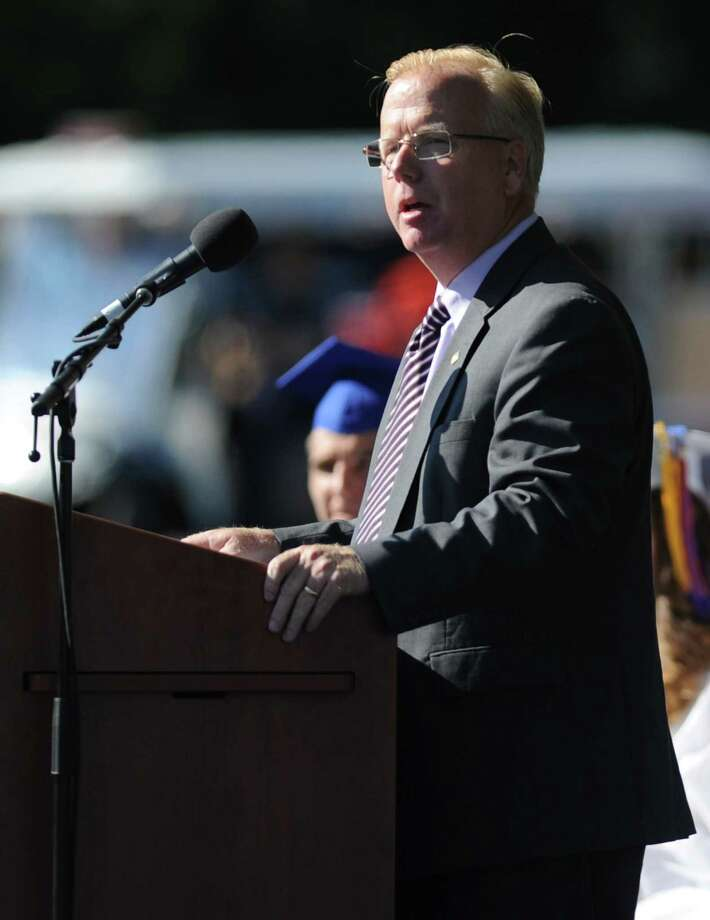 Danbury Mayor Mark Boughton speaks at the Danbury High School commencement ceremony in Danbury, Conn. on Wednesday, June 19, 2013.  639 Danbury seniors crossed the stage at this year's graduation. Photo: Tyler Sizemore / The News-Times