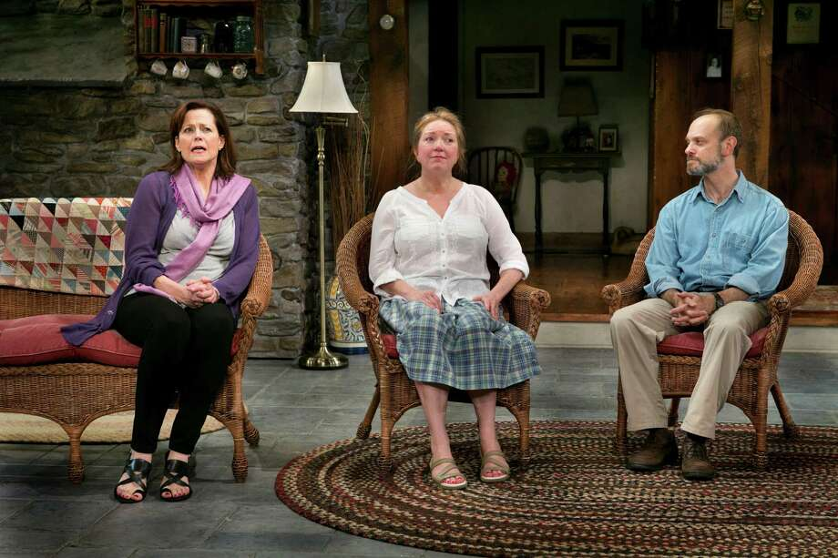 "Sigourney Weaver, Kristine Nielsen and David Hyde Pierce in ""Vanya and Sonia and Masha and Spike"" Photo: SARA KRULWICH, STF / NYTNS"