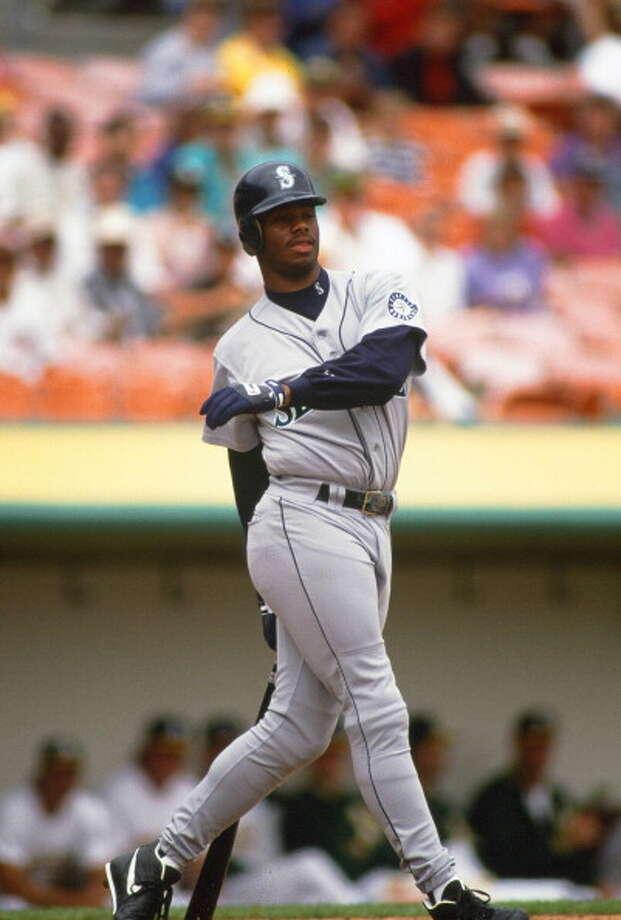 1993 Ken Griffey Jr. -- 45 home runscenter fielder  Next four: 27 -- Jay Buhner, RF 17 -- Tino Martinez, 1B 15 -- Mike Blowers, 3B 13 -- Dave Valle, C  Photo: Focus On Sport, Getty Images / 1993 Focus on Sport