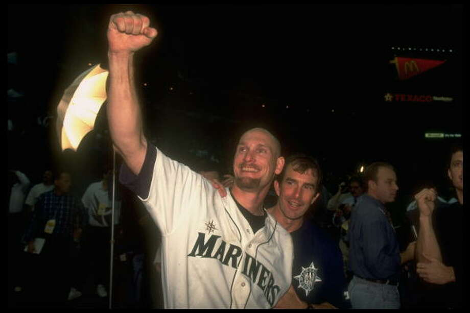 1995 Jay Buhner -- 40 home runs right fielder  Next four: 31 -- Tino Martinez, 1B 29 -- Edgar Martinez, DH 23 -- Mike Blowers, 3B 17 -- Ken Griffey Jr., CF  Photo: Scott Clarke, Time & Life Pictures/Getty Image / Scott Clarke