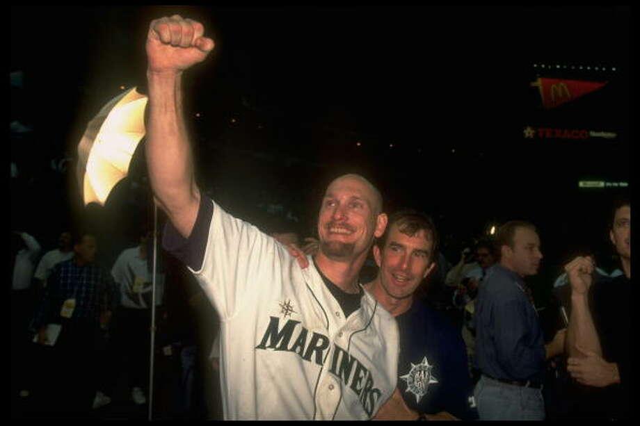 1995 Jay Buhner -- 40 home runsright fielder  Next four: 31 -- Tino Martinez, 1B 29 -- Edgar Martinez, DH 23 -- Mike Blowers, 3B 17 -- Ken Griffey Jr., CF  Photo: Scott Clarke, Time & Life Pictures/Getty Image / Scott Clarke