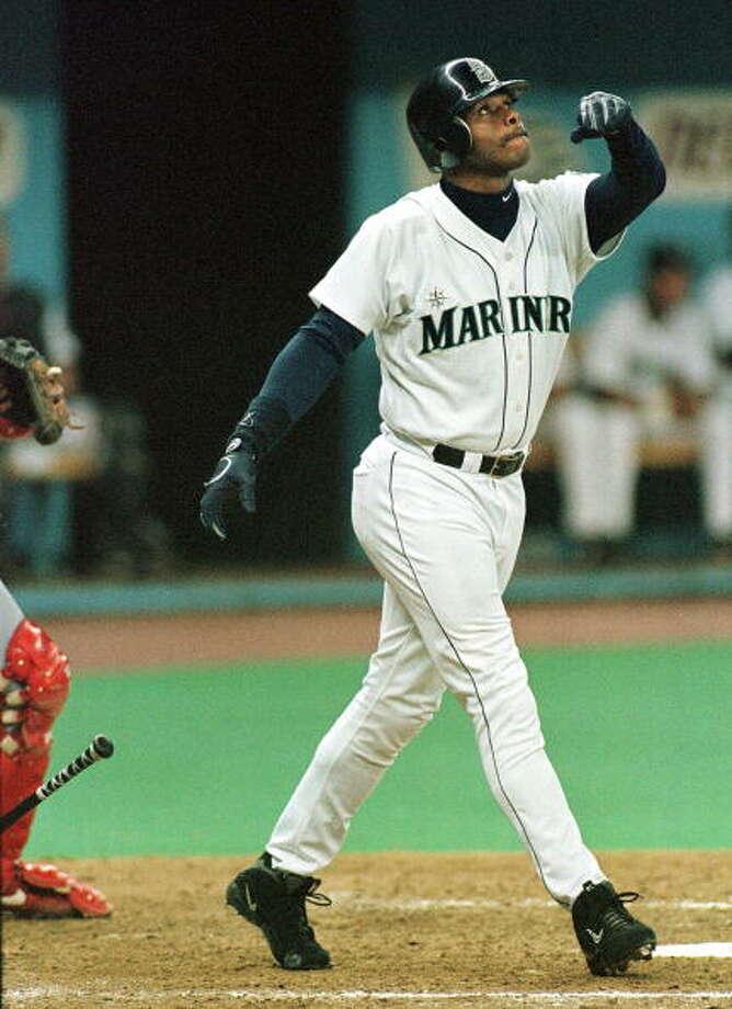 1998 Ken Griffey Jr. -- 56 home runs center fielder  Next four: 42 -- Alex Rodriguez, SS 29 -- Edgar Martinez, DH 20 -- Russ Davis, 3B 19 -- David Segui, 1B  Photo: DAN LEVINE, AFP/Getty Images / AFP