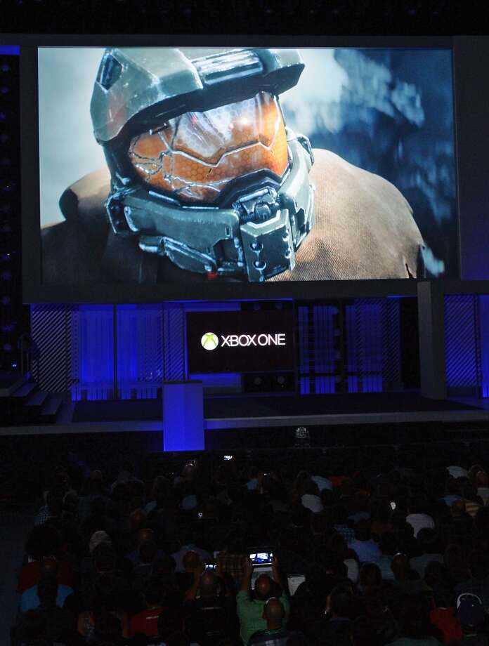A preview of the next generation Halo series electronic game to be released in 2014 for Xbox One in 60 frames per second (fps) is shown at the Microsoft Xbox E3 2013 Media Briefing, in Los Angeles, California June 10, 2013.  The press conference precedes the Electronic Entertainment Expo (E3) which takes place in Los Angeles June 11-13.