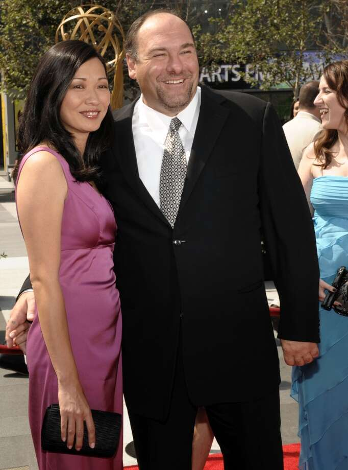 This Sept. 13, 2008 file photo shows actor James Gandolfini and his wife Deborah Lin at the 2008 Primetime Creative Arts Emmy Awards in Los Angeles.  HBO and the managers for Gandolfini say the actor died Wednesday, June 19, 2013, in Italy. He was 51. (AP Photo/Chris Pizzello, file)