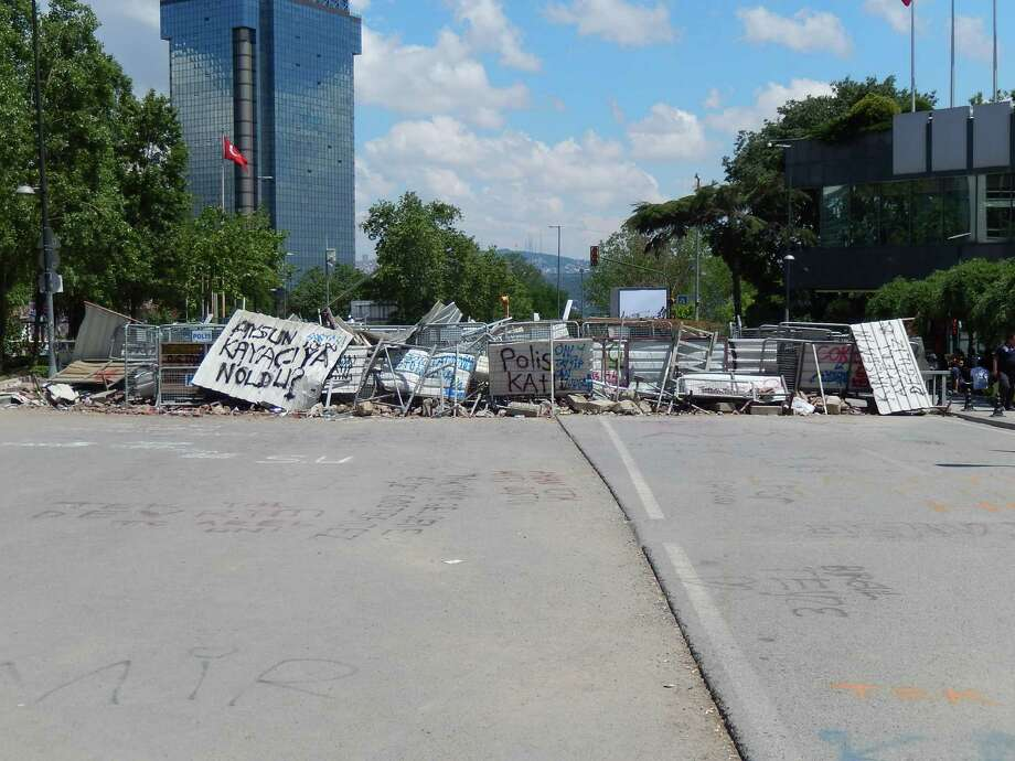 Fencing and debris block the road near Taksim Square in Istanbul. Local resident Jeremy Martelle was in the Turkish city for a business conference as protests in the park boiled over last week. (Jeremy Martelle)