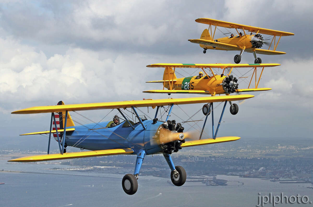 A Stearman formation is shown in this photo provided by the Historic Flight Foundation.