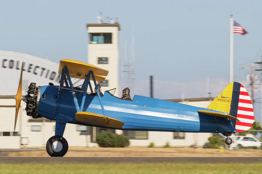 A Stearman lands at Paine Field in this photo provided by the Historic Flight Foundation. Photo: Liz Matzelle / Courtesy photo