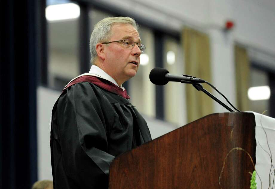 Bethel First Selectman Matt Knickerbocker addresses the audience Wednesday evening. Bethel High School held its graduation ceremonies Wednesday, June 19, 2013, at the O'Neill Center at Western Connecticut State University, in Danbury, Conn. Photo: Carol Kaliff / The News-Times