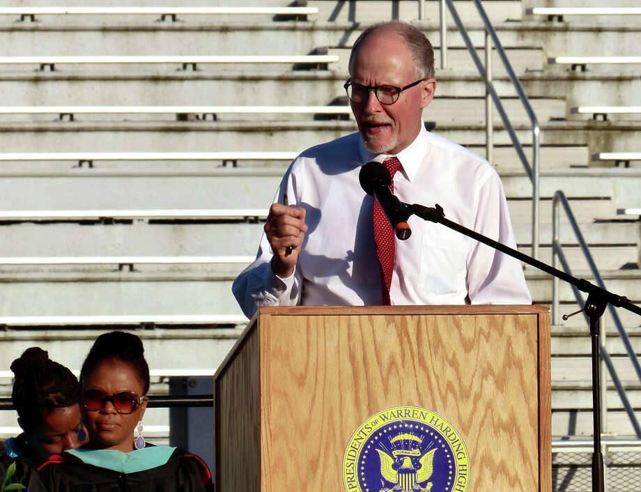 Superintendent of Schools Paul Vallas speaks, during Warren Harding High School's 87th Annual Commencement ceremony which was held at Central High School's Kennedy Stadium in Bridgeport, Conn. on Wednesday June 19, 2013. Photo: Christian Abraham / Connecticut Post