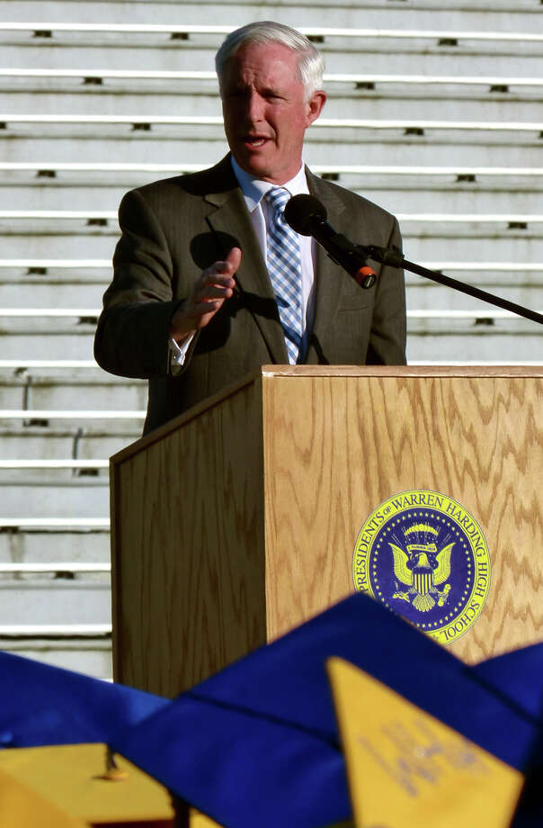 Bridgeport Mayor Bill Finch speaks, during Warren Harding High School's 87th Annual Commencement ceremony which was held at Central High School's Kennedy Stadium in Bridgeport, Conn. on Wednesday June 19, 2013. Photo: Christian Abraham / Connecticut Post
