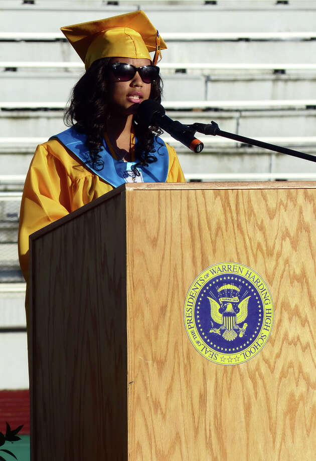 Georbina DaRosa gives the Salutatory Address, during Warren Harding High School's 87th Annual Commencement ceremony which was held at Central High School's Kennedy Stadium in Bridgeport, Conn. on Wednesday June 19, 2013. Photo: Christian Abraham / Connecticut Post