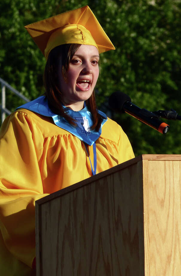 Elizabeth Szabo gives the Valedictory Address, during Warren Harding High School's 87th Annual Commencement ceremony which was held at Central High School's Kennedy Stadium in Bridgeport, Conn. on Wednesday June 19, 2013. Photo: Christian Abraham / Connecticut Post
