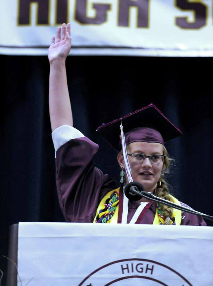 Valedictorian Aiden Ford gestures during her speech Wednesday evening. Bethel High School held its graduation ceremonies Wednesday, June 19, 2013, at the O'Neill Center at Western Connecticut State University, in Danbury, Conn. Photo: Carol Kaliff / The News-Times