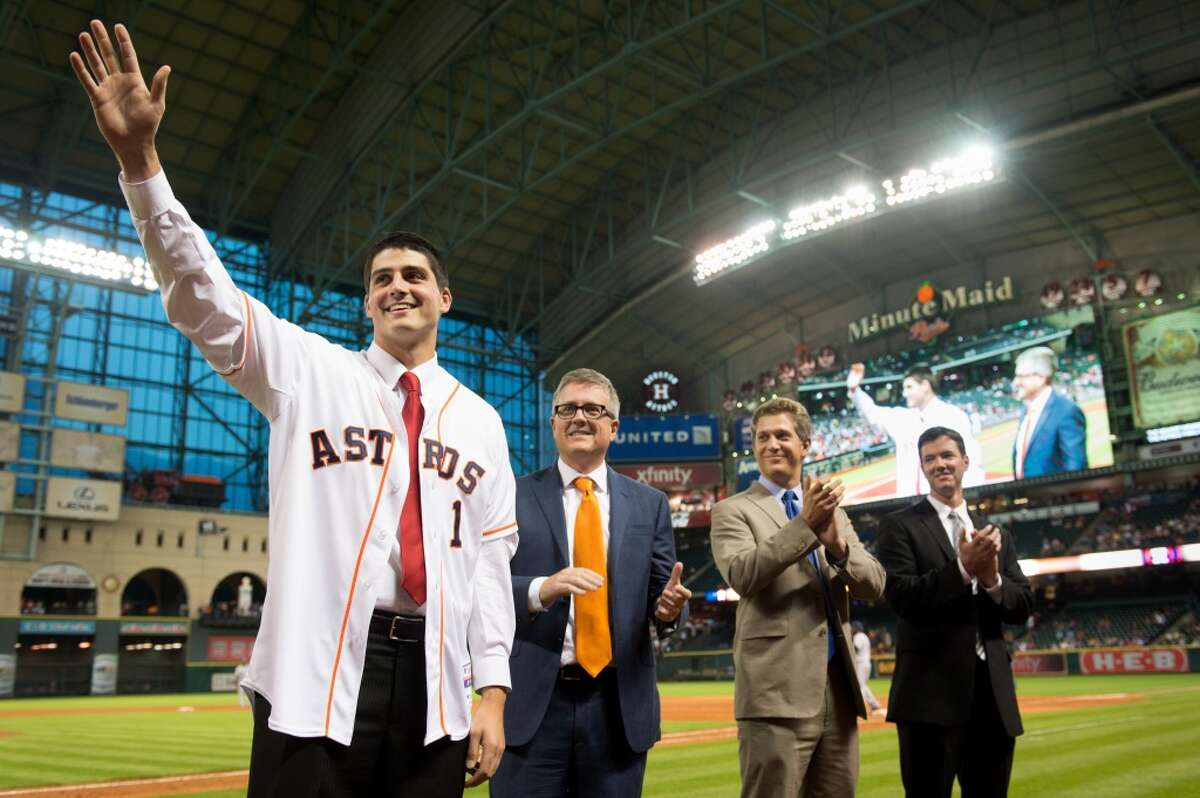 Mark Appel is introduced to the the Minute Maid Park crowd during a game on June 19, 2013, a couple weeks after the Astros made him the No. 1 overall pick in the draft.