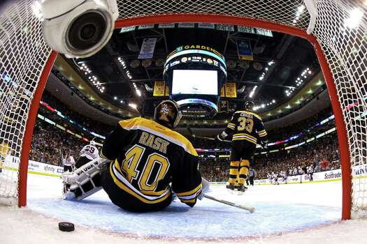 BOSTON, MA - JUNE 19: Tuukka Rask #40 of the Boston Bruins fails to save the game winning goal by Brent Seabrook #7 of the Chicago Blackhawks in overtime in Game Four of the 2013 NHL Stanley Cup Final at TD Garden on June 19, 2013 in Boston, Massachusetts. Photo: Harry How, Getty Images / 2013 Getty Images