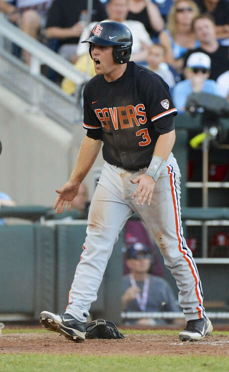 Kavin Keyes helped Oregon State win the College World Series' first 1-0 game since 1985. The Beavers are two wins away from the finals. Photo: Ted Kirk / Associated Press