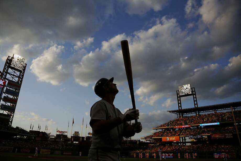 Washington Nationals' Gio Gonzalez warms up in the on deck circle before an at bat in the third inning of a baseball game against the Philadelphia Phillies, Wednesday, June 19, 2013, in Philadelphia. (AP Photo/Matt Slocum) Photo: Matt Slocum, Associated Press