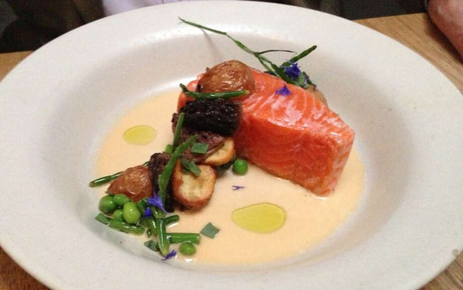 Salmon with morels, peas and potatoes ($29)
