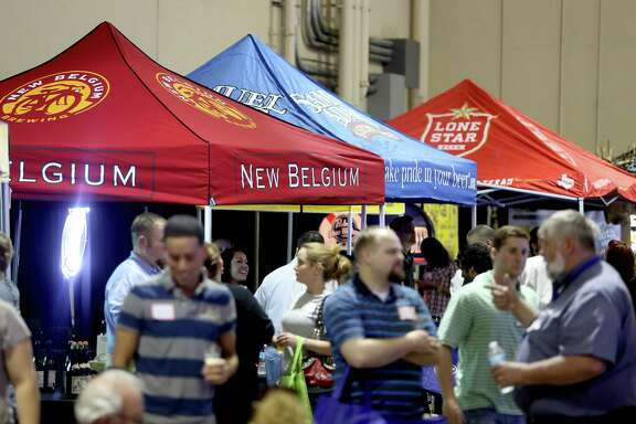 Domestic and craft beers are displayed at a trade show at Faust Distributing Co., one of the area's largest beer distributors.