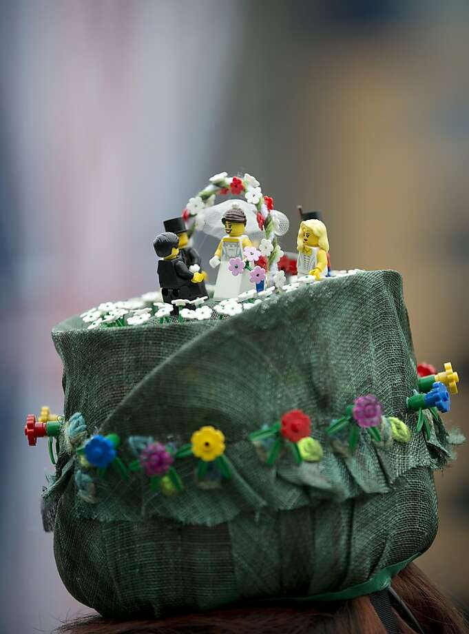 A detail of the hat worn by Monique Lee on the third day traditionally known as Ladies Day of the Royal Ascot horse race meeting in Ascot, England, Thursday, June 20, 2013. (AP Photo/Alastair Grant) Photo: Alastair Grant, Associated Press