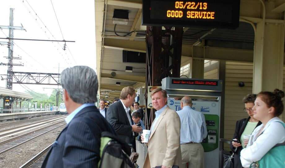 Not all commuters would agree with the message on the electronic sign at Westport's Saugatuck Metro North station. Photo: Jarret Liotta, File Photo / Westport News contributed
