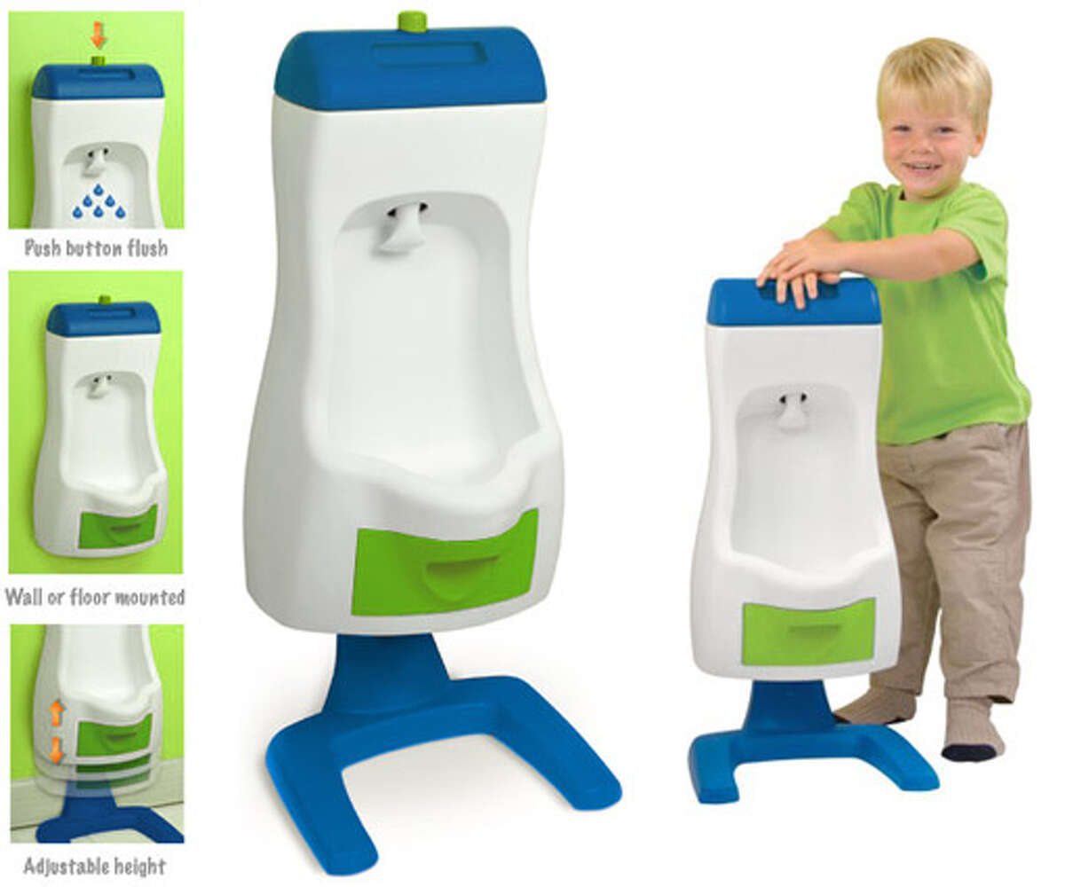 Peter Potty Toddler Urinal: Little girls need to sit, but with this miniature urinal little boys can stand just like Daddy does! A reservoir on top provides real water flushing with no plumbing required.