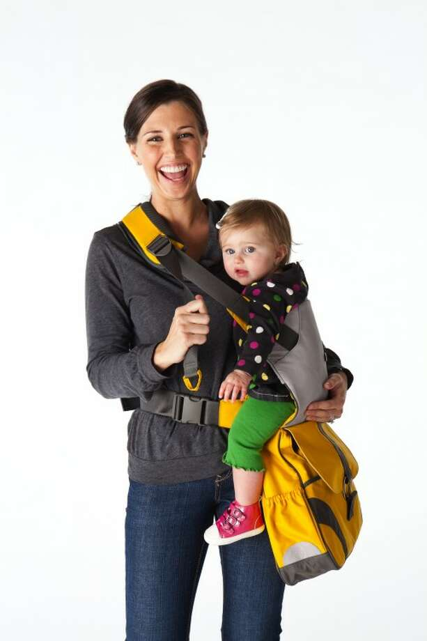 The Sidekick: It's a bag and a baby carrier all in one, so you can conveniently carry both your kid and the groceries. Let's just hope you don't fall over! Photo: GoGo Babyz