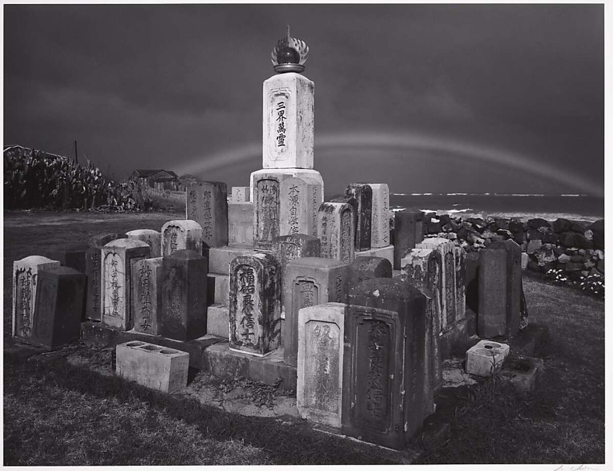 """Ansel Adams' """"Buddhist Grave markers and Rainbow, Paia, Maui, Hawaii,"""" 1956, Collection Center for Creative Photography, University of Arizona. This gelatin silver print will be one of 56 of his photographs on view in """"Georgia O'Keeffe and Ansel Adams: The Hawai'i Pictures"""" at the Honolulu Museum of Art July 18-Jan. 12, 2014."""