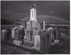 "Ansel Adams' ""Buddhist Grave markers and Rainbow, Paia, Maui, Hawaii,"" 1956,  Collection Center for Creative Photography, University of Arizona. This gelatin silver print  will be one of 56 of his photographs on view in ""Georgia O'Keeffe and Ansel Adams: The Hawai'i Pictures"" at the Honolulu Museum of Art July 18-Jan. 12, 2014."