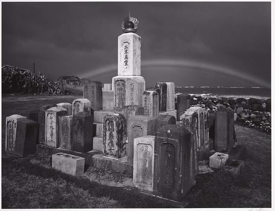"Ansel Adams' ""Buddhist Grave markers and Rainbow, Paia, Maui, Hawaii,"" 1956,  Collection Center for Creative Photography, University of Arizona. This gelatin silver print  will be one of 56 of his photographs on view in ""Georgia O'Keeffe and