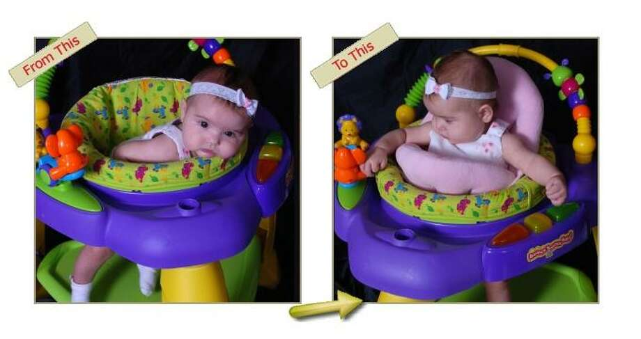 Hugga-Bebe: Don't let the activity center swallow your baby! This pillowy thing helps keep your kid upright.