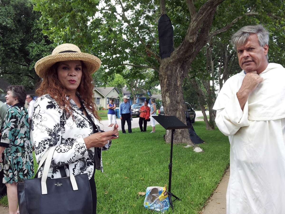 Day Gardner, left, president of the National Black Pro-Life Union, and Father Christopher Terry, a Dominican priest, spoke June 20 at an anti-abortion protest at a Houston clinic.