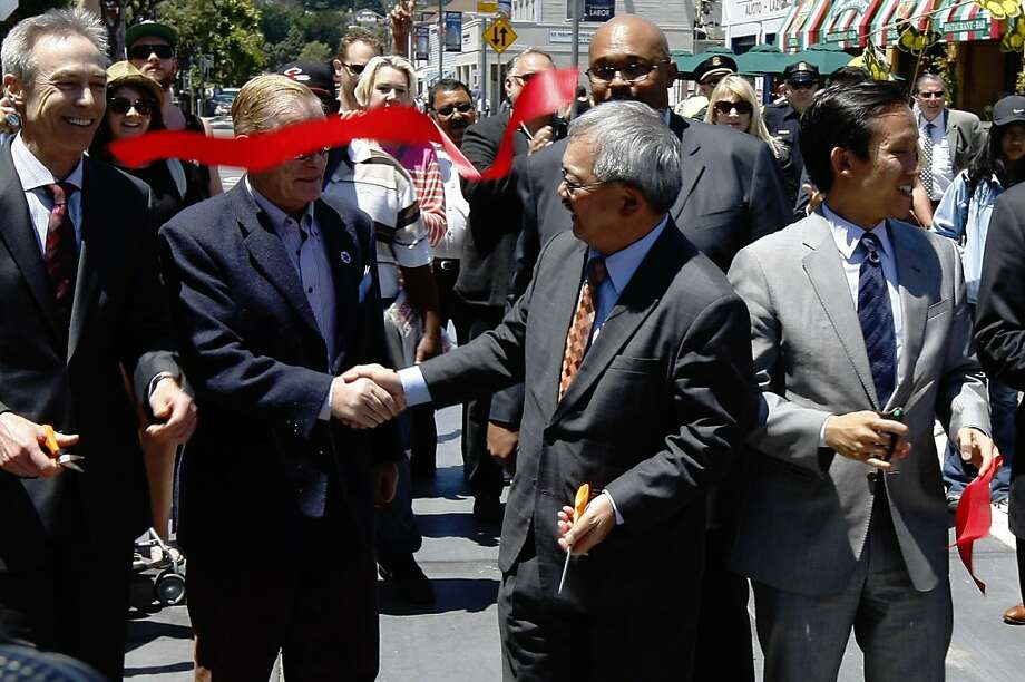 Mayor Ed Lee (center) and Supervisor David Chiu (right) attended the Jefferson Street ribbon-cutting ceremony. Photo: Rohan Smith, The Chronicle