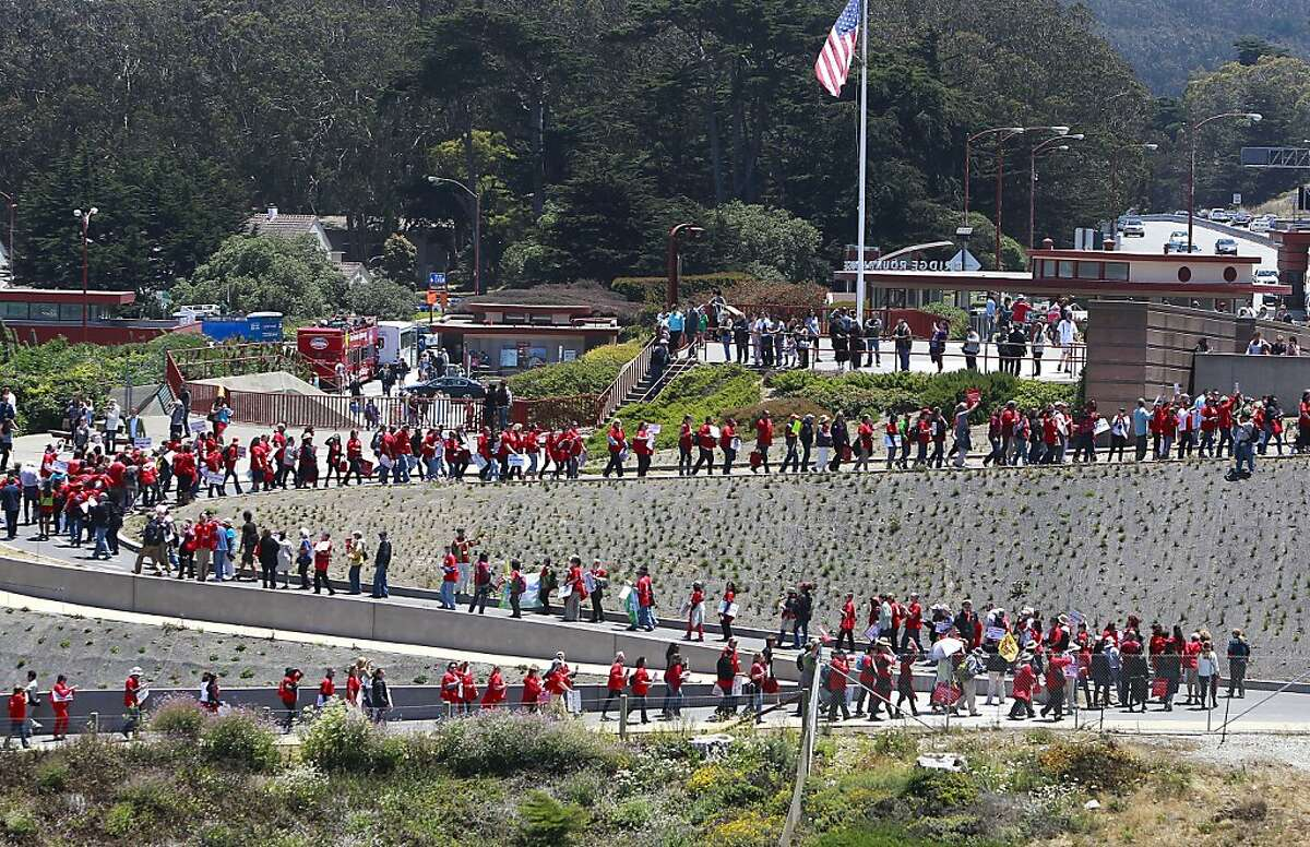 Protesters zig zag their way up to the Golden Gate Bridge in San Francisco, Calif. on Thursday June 20, 2013. National Nurses United and environmentalists march on the Golden Gate Bridge to protest the Keystone XL pipeline.