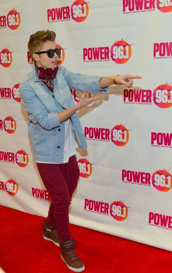 Justin Bieber points at things. Photo: Prince Williams, WireImage