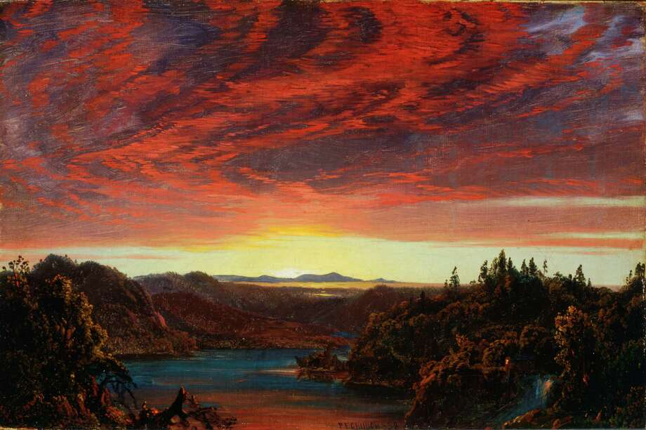 """Maine Sublime: Frederic Edwin Church's Landscapes of Mount Desert and Mount Katahdin"" Frederic Edwin Church, Twilight, A Sketch, 1858, oil on canvas, 8 ¼ x 12 ¼ in., OL.1981.8"