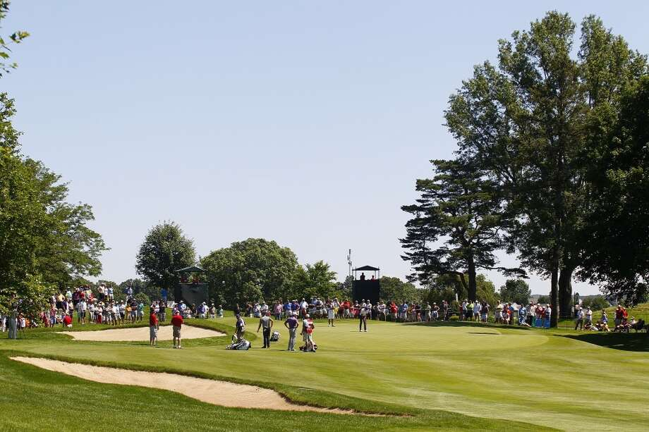 CROMWELL, CT - JUNE 20:  A general view of the fourth green during the first round of the Travelers Championship held at TPC River Highlands on June 20, 2013 in Cromwell, Connecticut.  (Photo by Michael Cohen/Getty Images)
