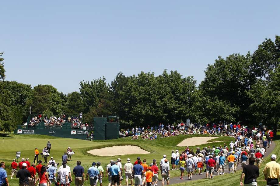 CROMWELL, CT - JUNE 20:  A general view of the eighth hole during the first round of the Travelers Championship held at TPC River Highlands on June 20, 2013 in Cromwell, Connecticut.  (Photo by Michael Cohen/Getty Images)